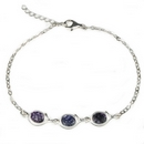 Silver Bracelet with Blue John - 'Triple Swirl