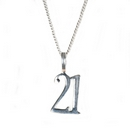 Silver '21' Number - Pendant and Chain