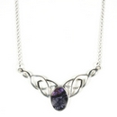 Silver / Derbyshire Blue John Celtic Knot Necklace