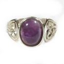Silver (Celtic Knot) Amethyst Stone Ring  (M 1/2)