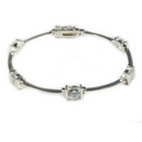 Silver Bracelet with Clear Cubic Zirconia Stones