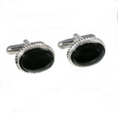 Silver / Onyx Rope Edge Cufflinks