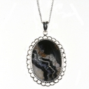 Silver / Blue John Loop & Rope Edged Oval Pendant (M)