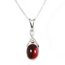 Silver /  Garnet 'Celtic Kiss' Pendant on Chain