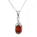 Silver /  Amber 'Celtic Kiss' Pendant on Chain