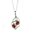 Silver / Amber Pendant and Chain  'Soft Entwine