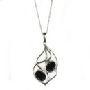Silver / Onyx Pendant and Chain  'Soft Entwine