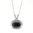 Silver / Amethyst Horizontal Oval Pendant  (M)