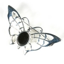 Silver Lace-Winged Butterfly / Onyx Brooch/Pin