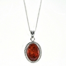 Silver / Amber Rope Edge  Pendant and Chain (Midi)