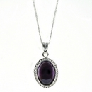 Silver / Amethyst Rope Edge  Pendant and Chain (Midi)