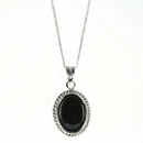 Silver / Onyx Rope Edge  Pendant and Chain (Midi)