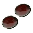 Silver / Garnet Stud Earrings