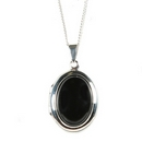 Silver / Onyx 'Moments' Locket on Chain
