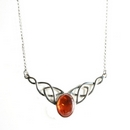 Silver / Amber Celtic Knot (Caress) Necklace