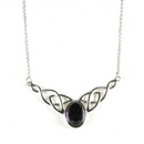 Silver / Amethyst Celtic Knot Necklace