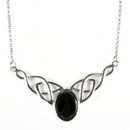 Silver / Onyx Celtic Knot Necklace