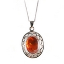 Silver / Amber Pendant (Celtic Oval)