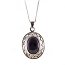 Silver / Amethyst Pendant (Celtic Oval)