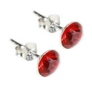 Silver / Red Crystal Stud Earring