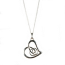 Silver Mackintosh Heart with Rose Pendant