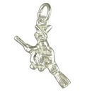 Silver Broomstick with Rider -  Charm/Pendant