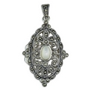 Silver / Mother of Pearl Filigree Locket on Chain