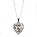 Silver Filigree Heart Pendant on Chain