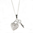 Silver / Clear CZ Pave Key & Heart - Pendant & Chain