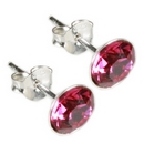 Silver Stud Earring Collection / Fuchsia & Clear