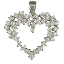 Silver CZ Open Heart Pendant and chain