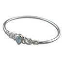 Silver Teardrop Topaz Bangle