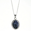 Silver  / Blue John Rope Edge  Pendant and Chain (Midi)
