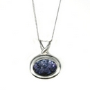 Silver / Blue John Horizontal Oval Pendant  (Medium)