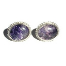 Silver Rope Edged/Blue John Stud Earrings