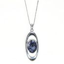 Silver Elongated Oval/Blue John - Pendant and Chain