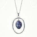 Silver / Blue John  Pendant and Chain (Victoriana)
