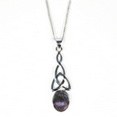 Silver Celtic Drop/Blue John Pendant and Chain