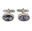 Silver Polished Edge / Blue John Cufflinks