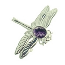 Silver 'Solid Wing' Dragonfly/Derbyshire Blue John Brooch
