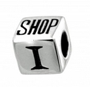 "Charms - Silver ""I Love To Shop"" Cube"