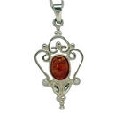 Pendants  - Silver Scrolled Filigree / Amber