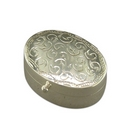 Silver Engraved Oval Keeper/Pill Box