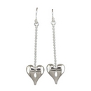 Silver Heart on Chain - Drop Earrings