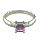Silver Square Amethyst Ring SR115