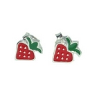 Silver / Red Strawberry Stud Earrings