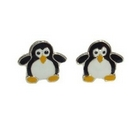 Silver/Enamelled Penguins Stud Earrings