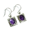 Earrings - Silver/Amethyst Square Drops