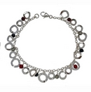 Bracelets - Silver Discs with Beads