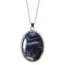 Silver  / Blue John  Rope-Edged Pendant (Large)
